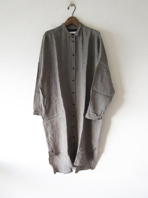 2017AW cheer linen gingham check long blouse OP -20180305